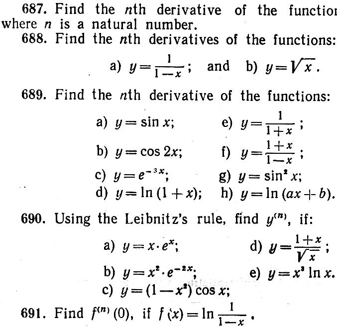 Worksheets Higher Order Derivatives Worksheet 2 1 11 12 chapter differentiation of functions hints and answers 667 691